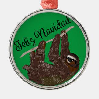 Ornamento De Metal A preguiça diz Feliz Navidad