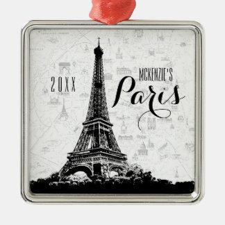 Ornamento De Metal A torre Eiffel de Paris adiciona seu nome