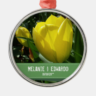 Ornamento De Metal A tulipa amarela floresce o casamento