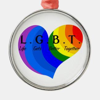 Ornamento De Metal A vida obtem o melhor junto orgulho de LGBT