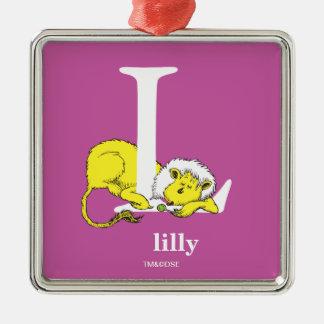 Ornamento De Metal ABC do Dr. Seuss: Letra L - O branco   adiciona