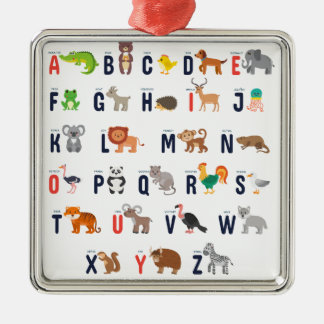 Ornamento De Metal ABCs animal - alfabeto