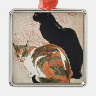 Ornamento De Metal Aguarela - 2 gatos - Théophile Alexandre Steinlen