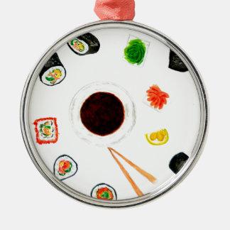 Ornamento De Metal Aguarela ajustada do sushi