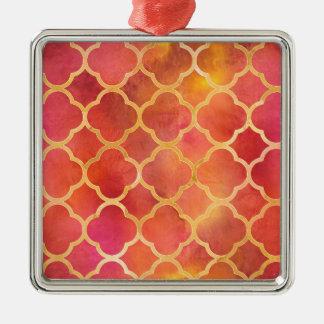 Ornamento De Metal Aguarela Quatrefoil