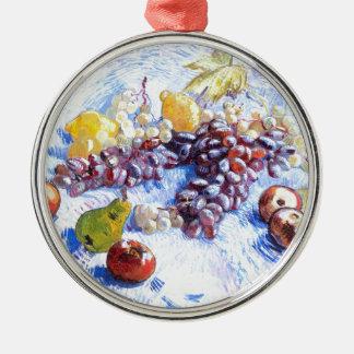 Ornamento De Metal Ainda vida com maçãs, peras, uvas - Van Gogh