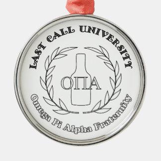 Ornamento De Metal Alfa Frat de Omega Pi da universidade da última