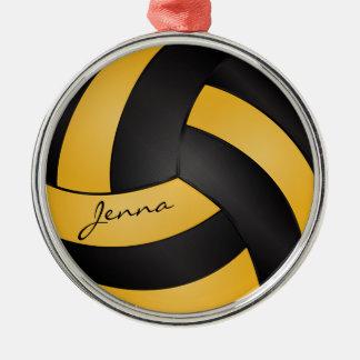 Ornamento De Metal Amarelos e pretos dourados personalizam o voleibol