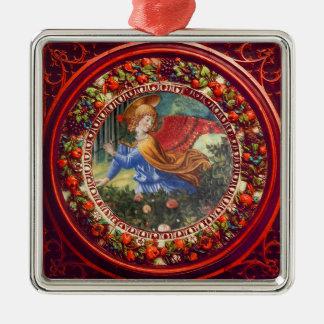 Ornamento De Metal Anjo que recolhe o Natal floral vermelho da coroa