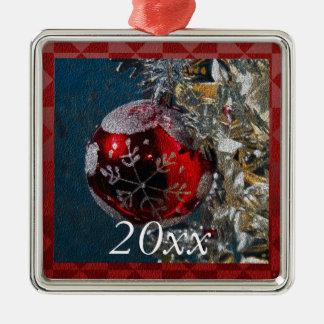 Ornamento De Metal Ano vermelho e de prata personalizado do Natal