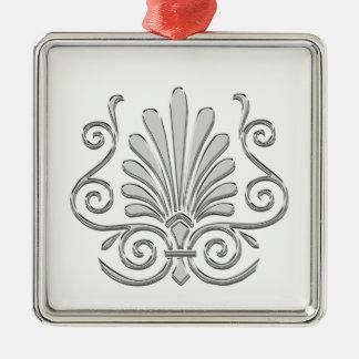 Ornamento De Metal Arabesque da pena da prata do art deco do vintage