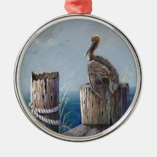Ornamento De Metal Arte acrílica do oceano do pelicano de Brown da