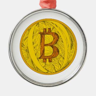 Ornamento De Metal Arte do Doodle de Bitcoin