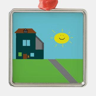 Ornamento De Metal Arte do miúdo - céu & luz do sol da casa