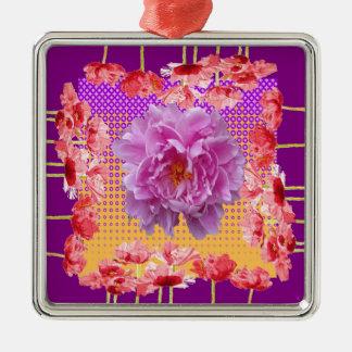 Ornamento De Metal arte floral roxa da peônia cor-de-rosa