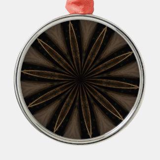Ornamento De Metal Arte Kaleidoscopic rústica escura da flor de Brown