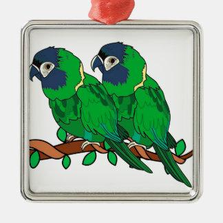 Ornamento De Metal arte verde do amor do papagaio do macaw