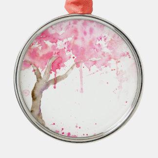 Ornamento De Metal Árvore cor-de-rosa abstrata da aguarela, árvore de