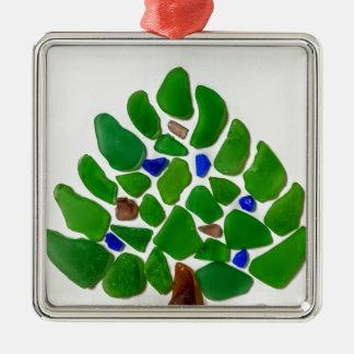 Ornamento De Metal Árvore de Natal de vidro do mar verde