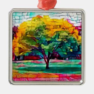 Ornamento De Metal Árvore do outono em cores vívidas
