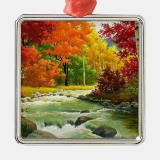 Ornamento De Metal Árvores do outono pelo rio