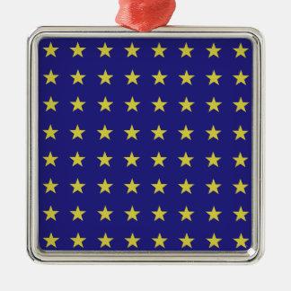 Ornamento De Metal As estrelas do ouro na UE azul do fundo colorem o