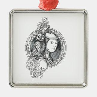 Ornamento De Metal Athena com a coruja no Cir do circuito eletrônico