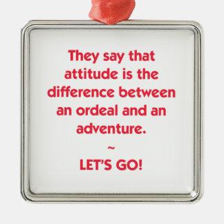 Ornamento De Metal Atitude - diferença entre o calvário e a aventura