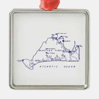 Ornamento De Metal Azuis marinhos do mapa #1 do vintage do Martha's