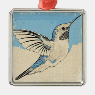 Ornamento De Metal Azul 2 do colibri