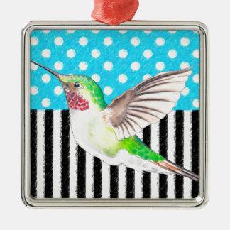 Ornamento De Metal Azul artística do colibri