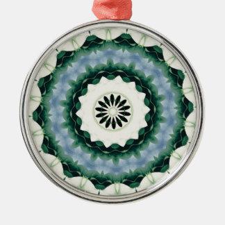 Ornamento De Metal Azul Cerulean e mandala verde de Sacramento