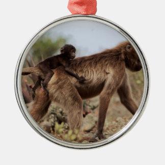 Ornamento De Metal Babuíno fêmea do gelada com um bebê