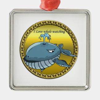 Ornamento De Metal baleia que olha para o gigante que flutua baleias