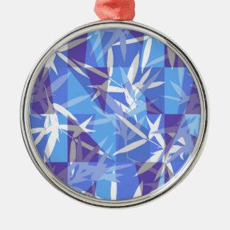 Ornamento De Metal Bambu no teste padrão geométrico azul
