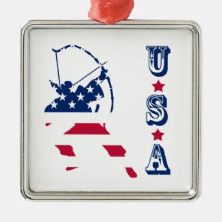 Ornamento De Metal Bandeira americana do arqueiro do tiro ao arco dos
