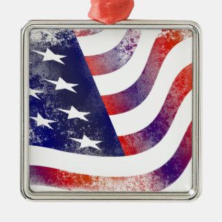 Ornamento De Metal Bandeira americana do Grunge