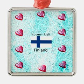 Ornamento De Metal Bandeira de Finlandia e design finlandês da língua