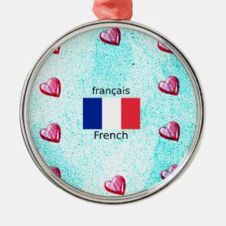 Ornamento De Metal Bandeira de France e design da língua francesa