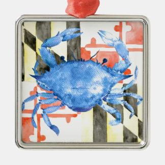 Ornamento De Metal Bandeira de maryland da aguarela e caranguejo azul