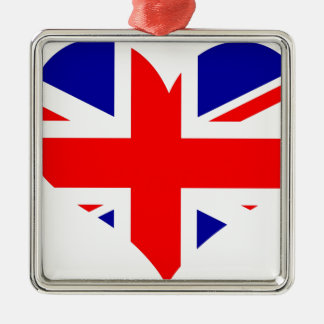 Ornamento De Metal Bandeira do coração de Union Jack