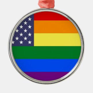 Ornamento De Metal Bandeira do orgulho do arco-íris dos E.U.