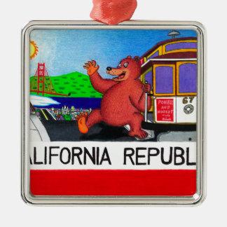 Ornamento De Metal Bandeira do urso de San Francisco Califórnia