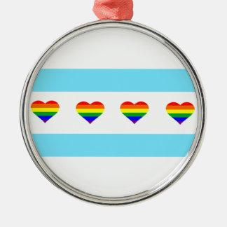 Ornamento De Metal Bandeira dos corações do arco-íris de Chicago