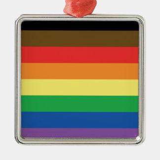 Ornamento De Metal Bandeira expandida LGBT customizável do arco-íris