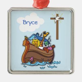 Ornamento De Metal Baptismo customizável do bebê da arca de Noah,