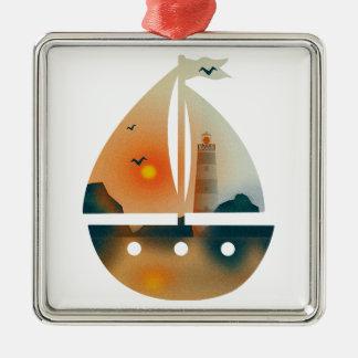 Ornamento De Metal Barco de Sunset_sail