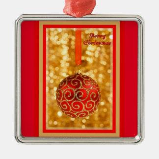 Ornamento De Metal Bauble do Feliz Natal no ouro