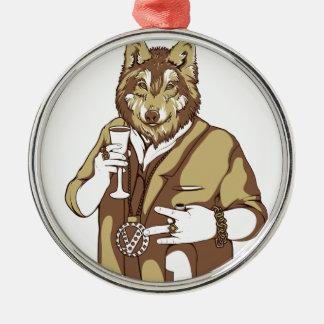 Ornamento De Metal bebendo ligado humano do cão