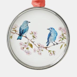 Ornamento De Metal Bluebirds da montanha no ramo de Sakura